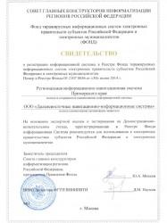 Свидетельство о регистрации РИНС в Фонде